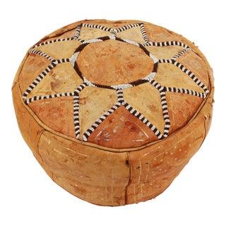 Vintage Moroccan Leather Pouff Ottoman