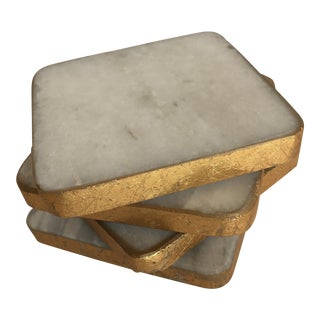 White Stone Gilded Coasters - Set of 4