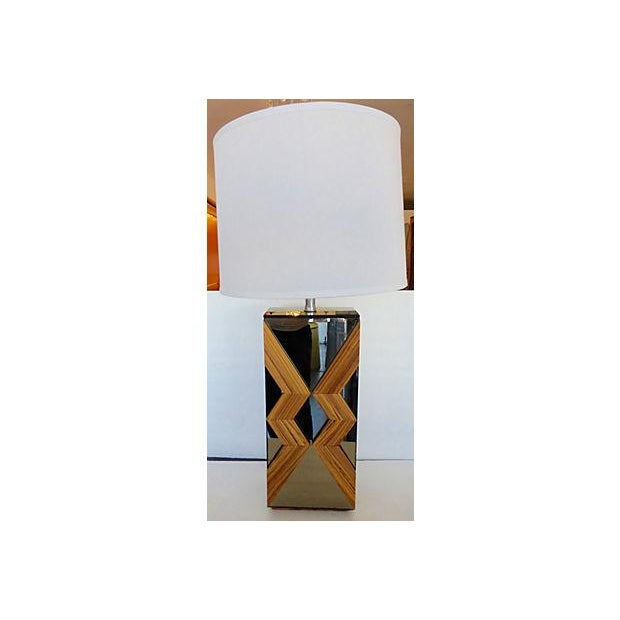 Image of Geometric Smoked Mirror & Wood Lamp