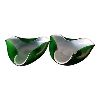 60's Murano Art Glass Ashtrays - A Pair