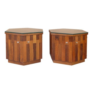 Pair of Lane Walnut Hexagonal Side Tables W/ Thick Glass Tops