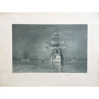 19th-C. Boston Harbor Nautical Photogravure