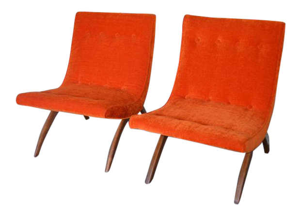 Milo Baughman Scoop Chairs   A Pair