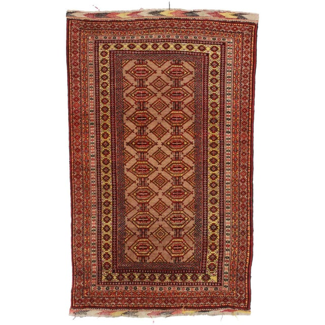 RugsinDallas Unusual Vintage Afghan Turkmen Tribal Area Rug - Image 1 of 2