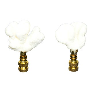 Natural Coral Table Lamp Finial - A Pair