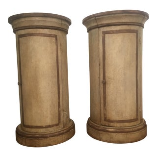 Antique Cylinder Side Tables- A Pair