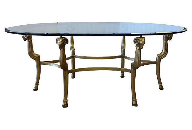 Gold Metal & Glass Oval Coffee Table