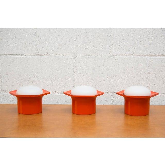 Raak Vintage '70s Hexagon Orange & Milk Glass Lamp - Image 7 of 7