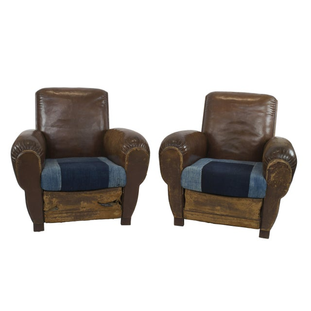 Large 1920's French Leather Club Chairs - Pair - Image 1 of 9