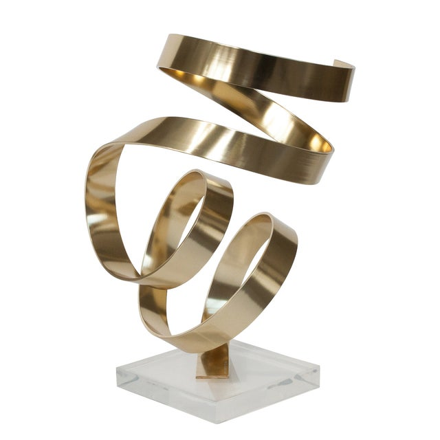 Image of Dan Murphy Vintage Abstract Gold Ribbon Sculpture