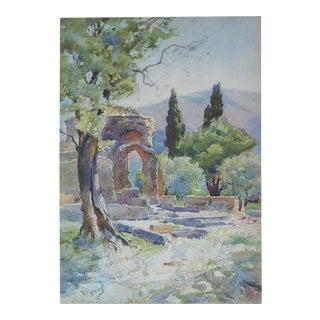 Vintage Lithograph, Villa Adriana in Rome