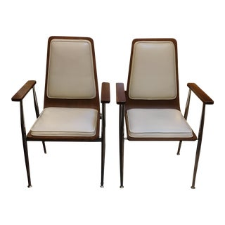 Plywood and Chrome Base Mid-Century Chairs - Pair