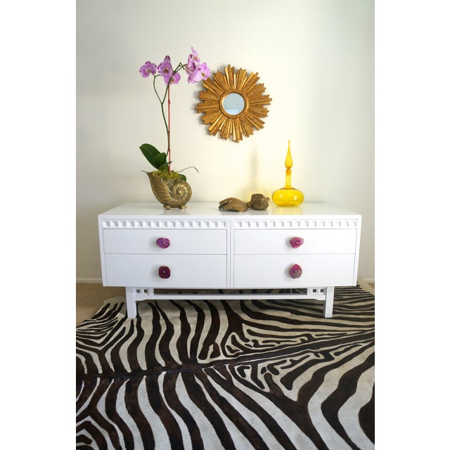 White Credenza Cabinet W/ Fuchsia Agate Pulls - Image 2 of 11