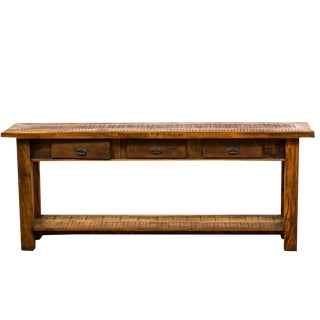 Rustic 3- Drawer Reclaimed Solid Wood Console Table