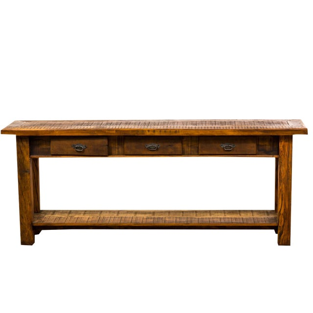 Rustic drawer reclaimed solid wood console table chairish