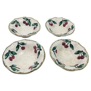 Italian Ceramic Cherries Dessert Bowls - Set of 4