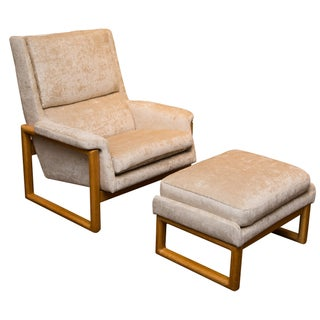 Crushed Velvet Lounge Chair/Ottoman (2 Available)