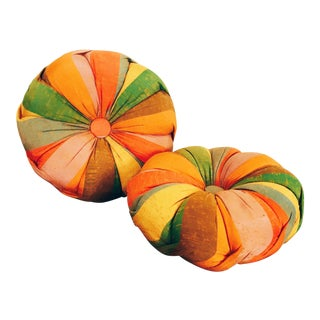 Mid-Century Colorful Round Pillows - A Pair