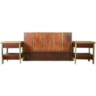 Brass & Teak Head Board and Bedside Tables