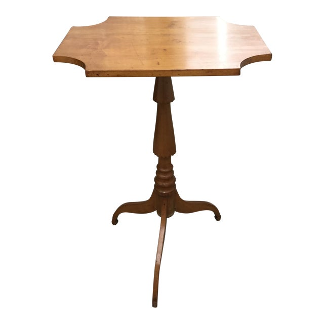 19th century maple flip top candle stand or table chairish for Th 37px60b table top stand