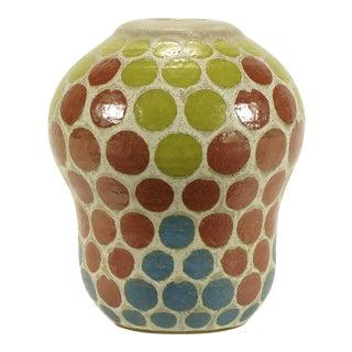 1967 Tomiya Matsuda Red, Blue and Yellow Circles Studio Pottery Vase