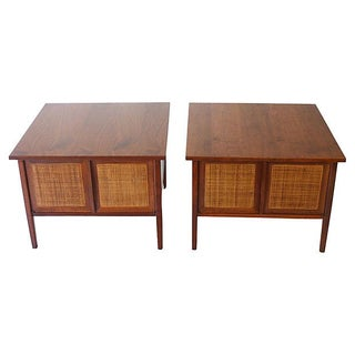 Mid-Century Caned End Tables - A Pair