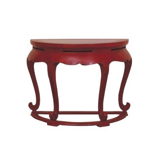 Vintage Red Asian Demilune Console Table