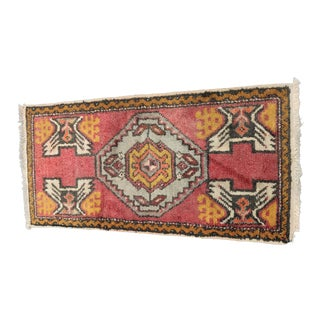 "Vintage Turkish Anatolian Welcome Mat - 1'7"" x 3'5"""