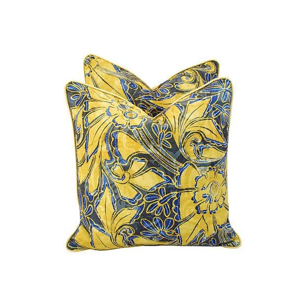 Scalamandre Blue & Gold Silk Pillows - A Pair - Image 7 of 7