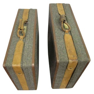 Vintage Tweed Suitcases - a Pair