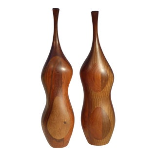 Organic Walnut Salt & Pepper 1970s. Daniel Loomis Valenza Design.