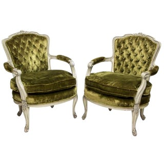 Louis XV Style Carved Frame Fauteuils - A Pair
