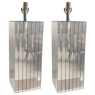 Mid-Century Mirrored Table Lamps - A Pair