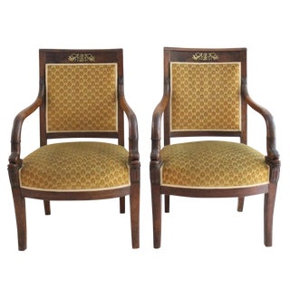 Antique 19th C. Carved Fish Armchairs - A Pair