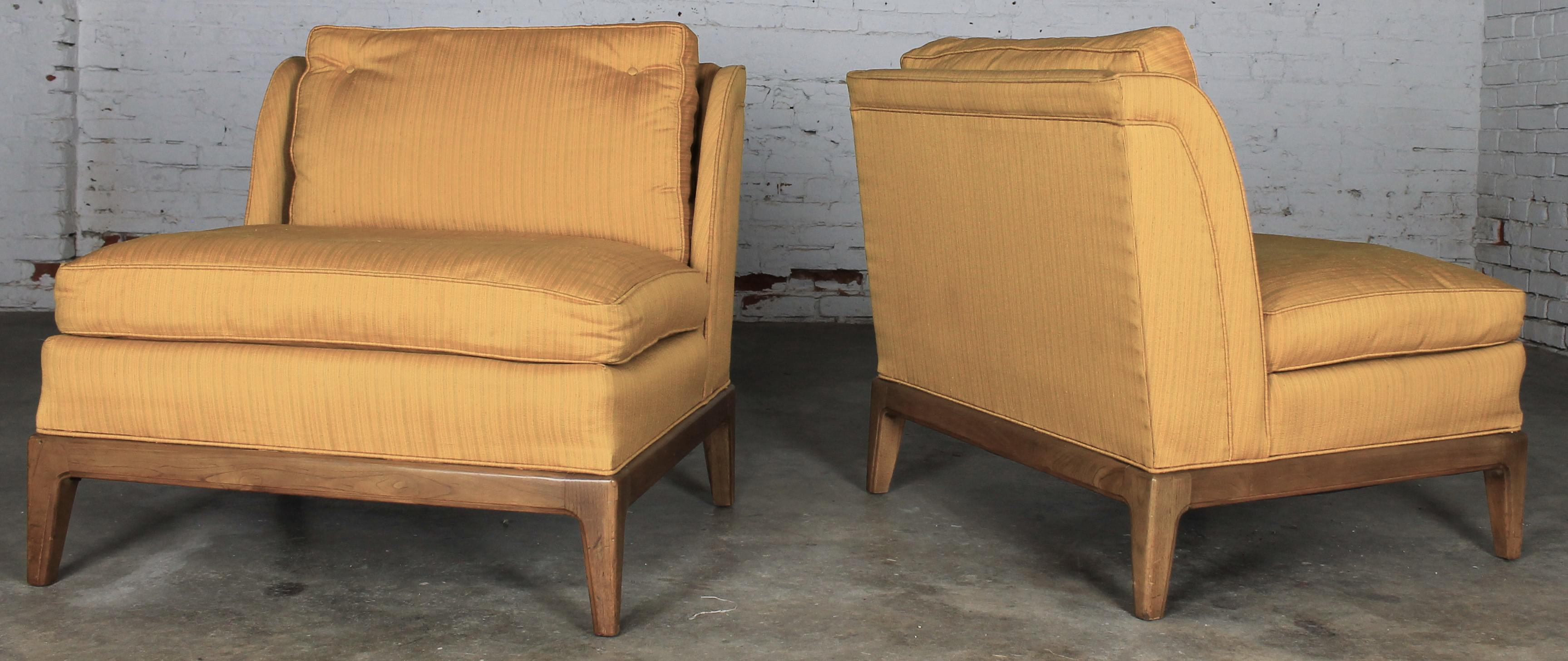 Drexel Vintage Mid Century Gold Slipper Chairs   A Pair   Image 2 Of 11