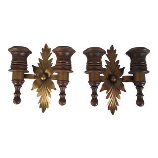 Vintage Wood & Metal 70's Candle Sconces