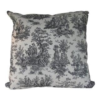 Handmade Classic Black Toile Pillow - 18 X 18 Pillow
