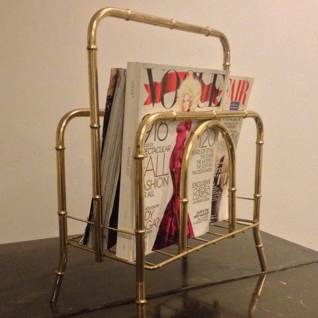 Faux Bamboo Brass Magazine Holder - Image 5 of 5