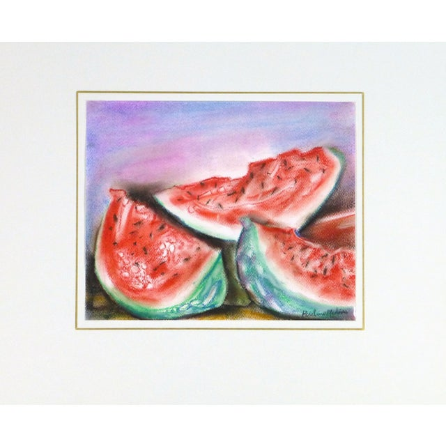 Original Watercolor & Charcoal Watermelon Painting - Image 3 of 3