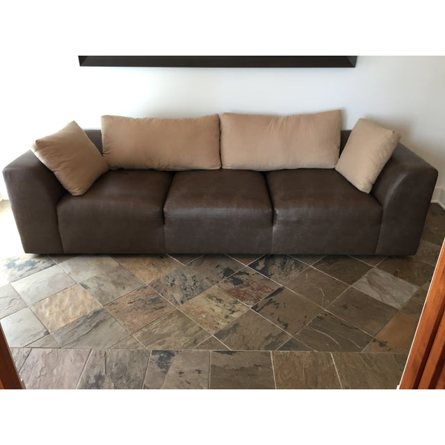 Mourra Starr Sofa, Brown Faux Leather - Image 3 of 7