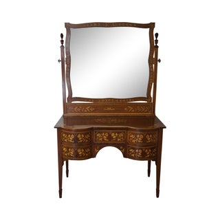 Antique Mahogany Marquetry Inlaid Vanity W/ Mirror