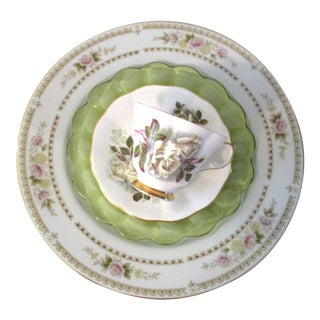 White Roses Mismatched Dinner Set - Set of 4