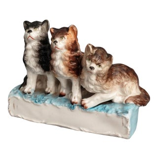 19th-C Staffordshire Kittens Figural Statue