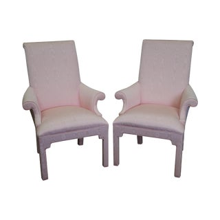 Hollywood Regency Custom Upholstered Arm Chairs - A Pair