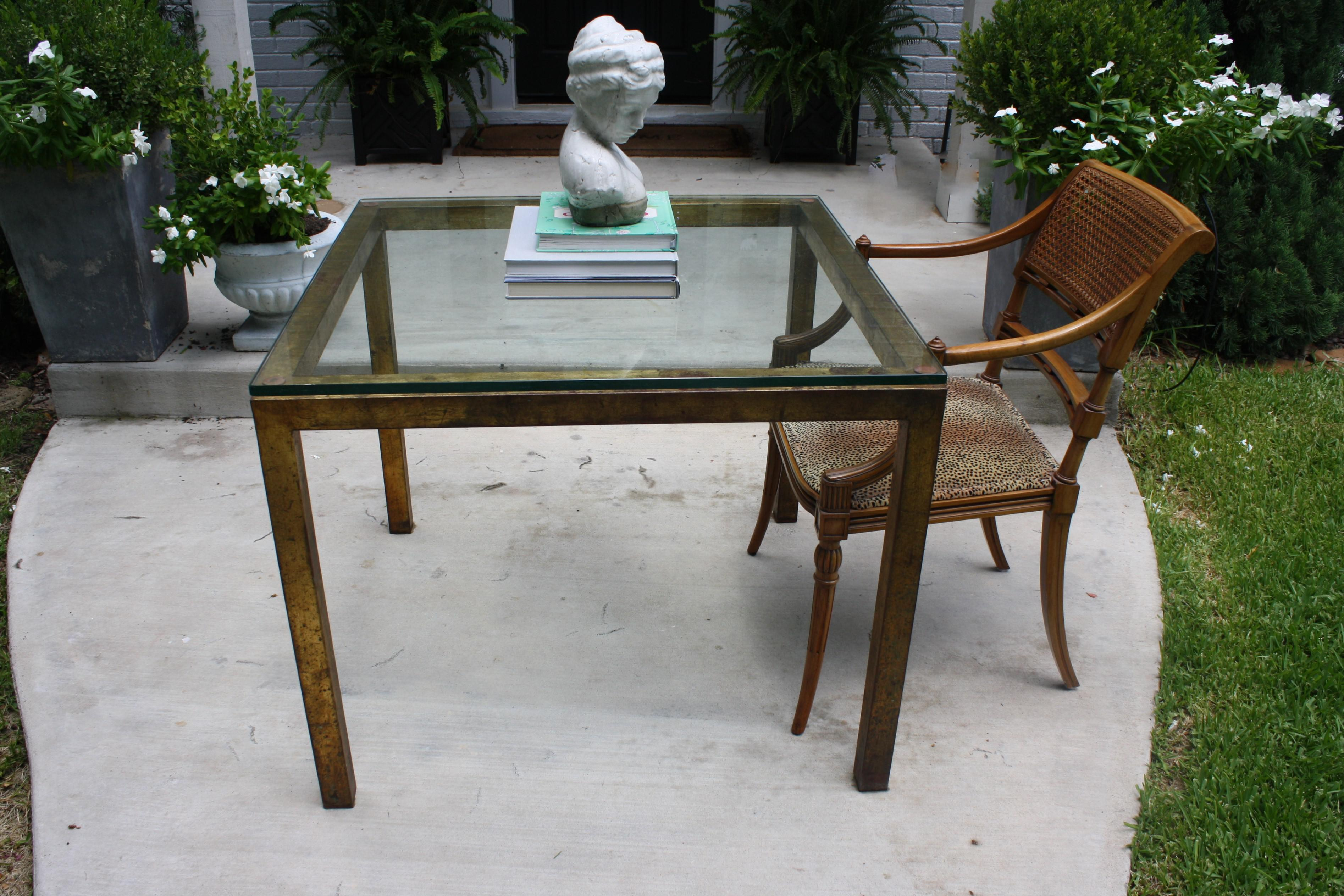 Vintage Modernist Gilt Metal Parsons Table With Thick Glass Top   Image 9  Of 10