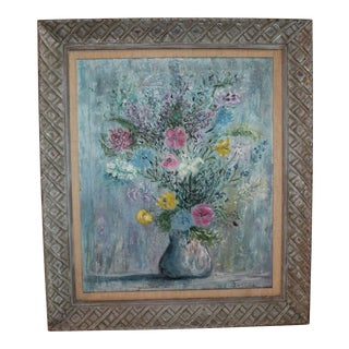 "Oil Pastel Painting Of Vase And Flowers Signed ""Dorsia"""