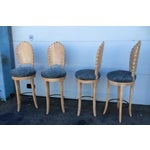 Image of Vintage Shell Carved Bar Stools - Set of 4