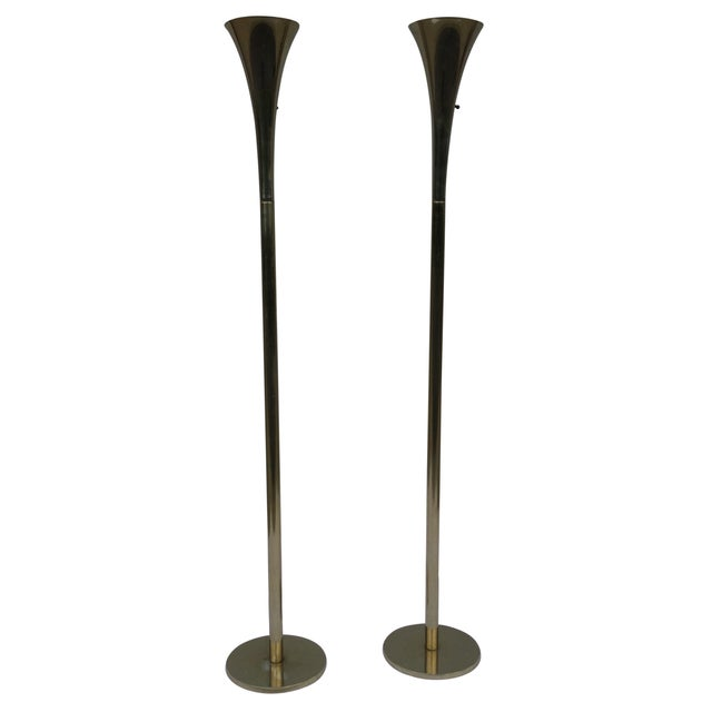 Laurel Brass Torchiere Floor Lamps - A Pair - Image 1 of 10