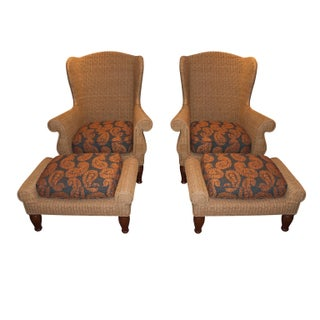 Crate & Barrel Wicker Arm Chairs - a Pair