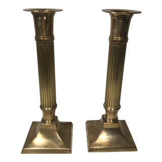 Brass Column Candlesticks - A Pair